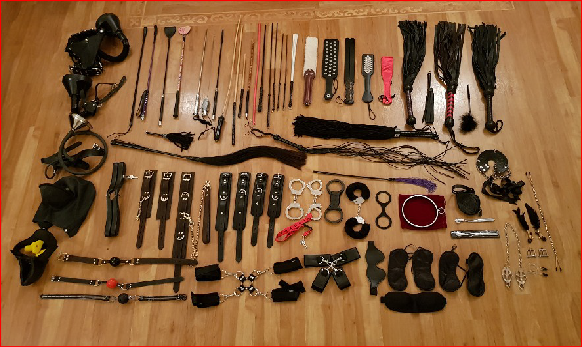 TS domme's collection of BDSM implements